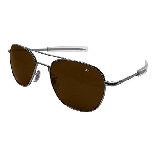 AO Eyewear American Optical - Original Pilot Aviator Sunglasses with Bayonet Temple and Silver Frame, Color Correct Grey Polycarbonate Polarized Lens