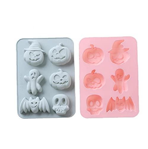 Molde de Pastel de Silicona de Halloween Molde de jabón DIY 6 Cavidad Calabaza Skull Fondant Bandeja de Hielo 2 unids