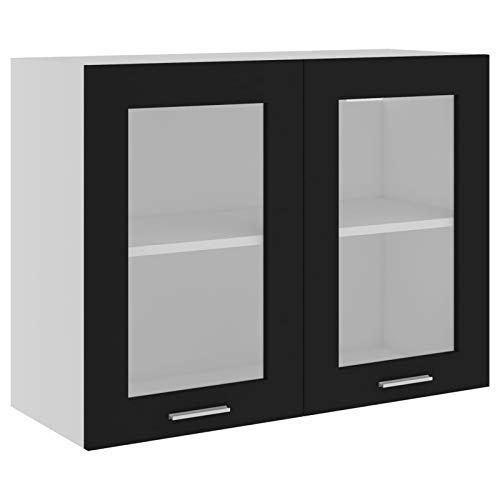 Tidyard Armario Colgante Armario de Cocina Armario de Pared Armario de Almacenamiento Cristal de Aglomerado Negro 80 x 31 x 60 cm