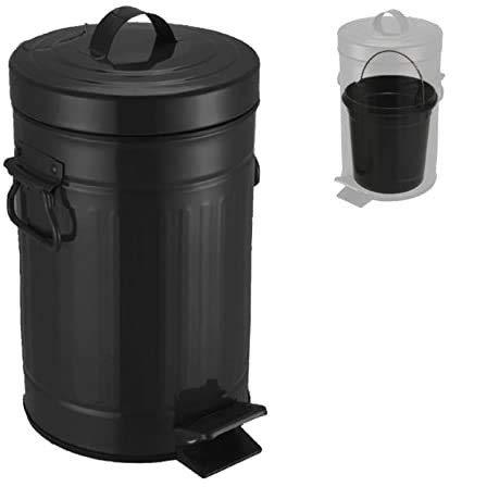 TIENDA EURASIA® Cubo de Basura con Pedal - Diseño Vintage - Fabricado en Acero Inoxidable - Cubo Interior Extraíble - Disponible en Varias Medidas (Negro, 5 L)