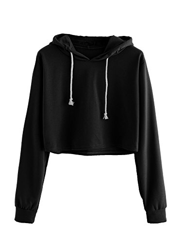 MakeMeChic Women's Long Sleeve Pullover Sweatshirt Crop Top Hoodies Black S