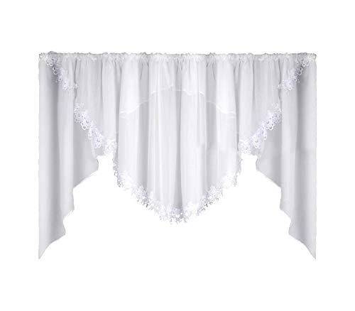 FKL DESIGN Home Deco Schöne Fertiggardine Fenstergardine Gardine aus Voile mit Faltenband Kräuselband Store Spitze Kurz Modern Weiß Gipüre 150x400 cm LB-5