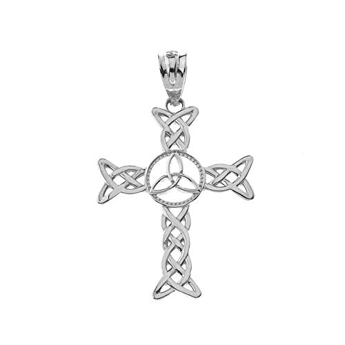 Certified 10k White Gold Celtic Cross Trinity Knot Pendant Charm Necklace