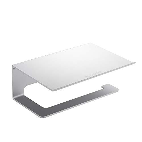 Wangel Toilettenpapierhalter mit Regal für Mobiltelefon, ohne Bohren, Patentierter Kleber + Klebestreifen, Aluminum, Matte Finish