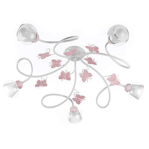 ONLI plafondlamp 5 slaapkamer verlichting in wit metaal met roze geschilderde vlinders