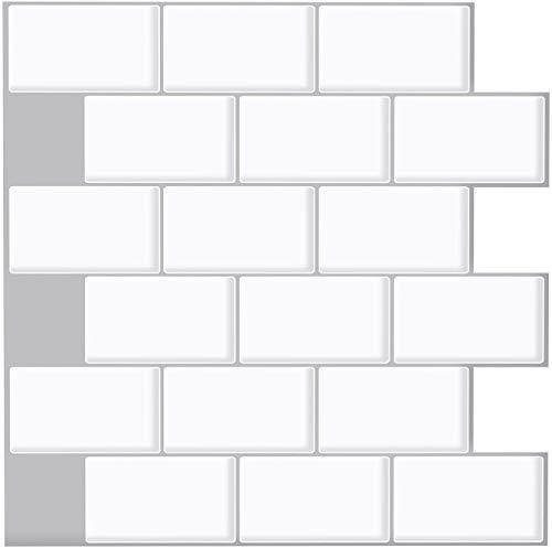 Ecoart 6 Piezas Decorativos Adhesivos para Azulejos Pegatina de Pared, Azulejos de Gel, Diseño de Ladrillo Blanco, Efecto 3D, Cenefa Autoadhesivo, para Baño y Cocina