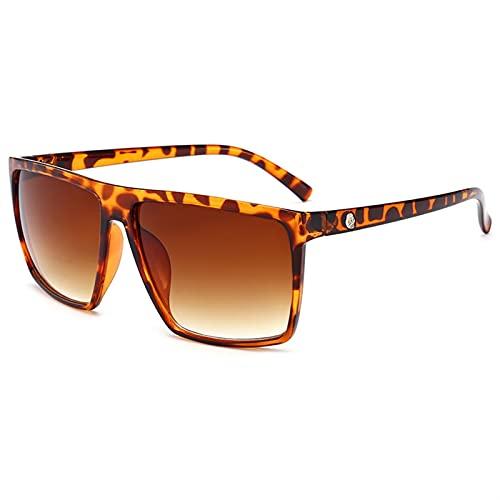 MINGQIMY Gafas de Sol Vintage Square Gafas de Sol para Hombres Mujeres Lujo Rectángulo Sunglass Clásico Retro Mujer Gafas de Sol (Lenses Color : Leopard)