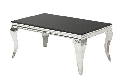 DuNord Design Couchtisch Glastisch Louis Barock Tisch 100cm schwarz Sofatisch Beistelltisch