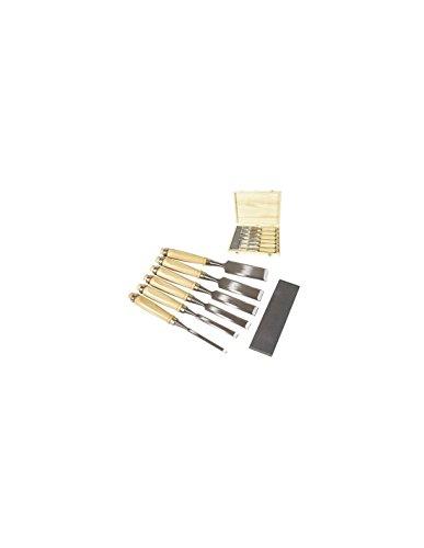 Satz 1340 Stechbeitel 6 - 12 - 19 - 25 - 32 - 38mm inkl. Abziehstein und Holzkiste zur Aufbewahrung