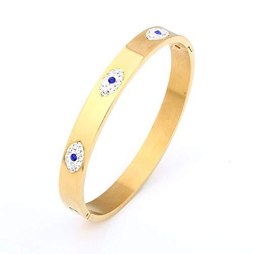 LPZW De Lujo de Acero Inoxidable Brazalete for Las Mujeres Brazalete de la Manera cristalina de la Pulsera de los brazaletes Indio Accesorios Mujer (Metal Color : Gold Color)