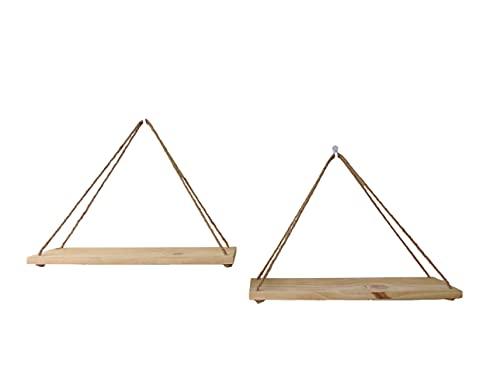 Estanterías de madera y cuerda para decoración del hogar. Pack de 2 estantes colgantes de madera de pino natural. Estantes de madera triangulares de pared. Baldas flotantes para plantas.