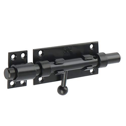 SAYAYO - Pestillo de puerta con perno corredero, cerradura de puerta con cerradura de puerta exterior con agujero para Cadenas, negro mate de acero inoxidable, EMCX7006-B-FR (candado no incluido)