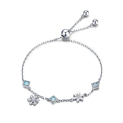 NDASNDIASND Nueva Serie 925 de Plata de Invierno con Copo de Nieve para Mujer, Pulsera de eslabones de Cadena, joyería de Plata 925, joyería