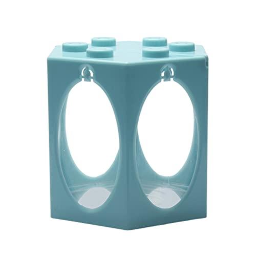 perfk Pequeño Tanque de Peces Betta, Mini Pecera Fila Acuario Apilable Tanque de Cubos Decoración de Pecera Redonda, Caja de Alimentación de Hormigas Mini C - Luz Redonda Azul