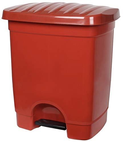 TIENDA EURASIA Cubo de Basura con Pedal para Cocina - 35L - Material de Plastico Reciclado Ecológico - Medidas: 40X33X47 cm (Rojo)