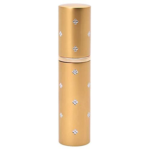 XdiseD9Xsmao 10 ml / 0.35oz duurzame lege parfumaluminium fles, mini draagbare ronde hoofdglazen tussenlaag verstuiver - navulbare houder voor op reis goud