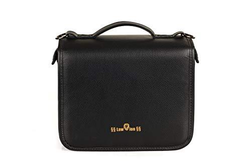 Schönfelder Tasche, Law-ion, regenfest, aus Kunst-Leder, in Schwarz, mit Buchstütze aus Acryl, praktisch und stilvoll