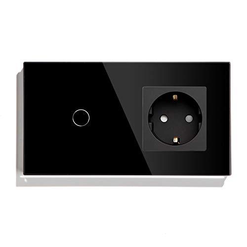 BSEED Touch Lichtschalter mit Steckdose 1 Fach 1 Weg Wandschalter mit LED Anzeige Unterputz Touchscreen-schalter mit Glasrahmen 157mm Schwarz 500W