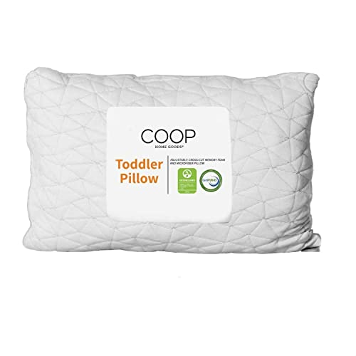 Coop Home Goods - Toddler Pillow (14x19) - Premium Cross-Cut Memory Foam - Soft Touch Lulltra Washable Cover from Bamboo Derived Rayon - CertiPUR-US/GREENGUARD Gold Certified