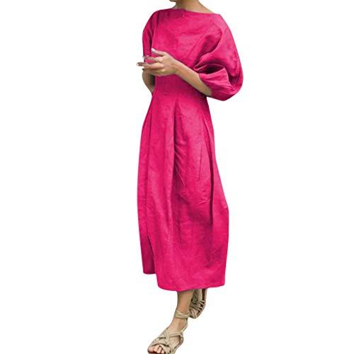 SANNYSIS Damen Langarm Freizeitkleid Einfarbig Lose A Linie Sommer Maxikleider Rundhals Kurzarm Strandkleid Skaterkleid Mit Knopf Faltenrock Vintage Kleider Pink S