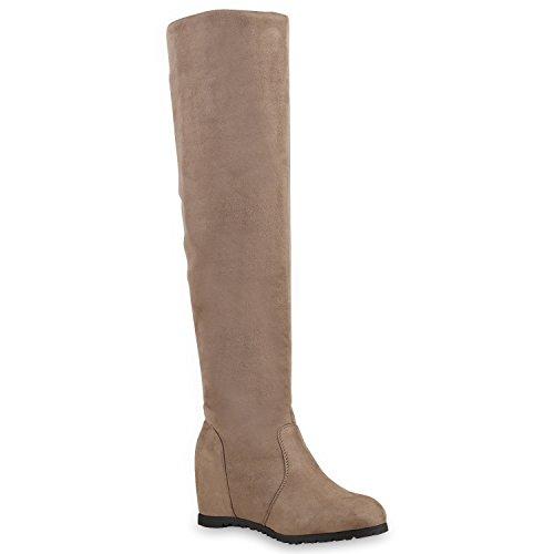 Damen Stiefel Overknees Keilabsatz Boots Schuhe 126281 Taupe 39 Flandell