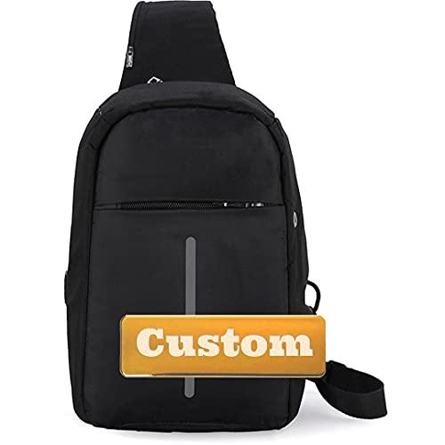 Nombre personalizado Batmen Sling Bag Casual Daypack Women USB Sling Bolsa de la escuela Mini Daypack para mujeres (Color : Black, Size : One size)