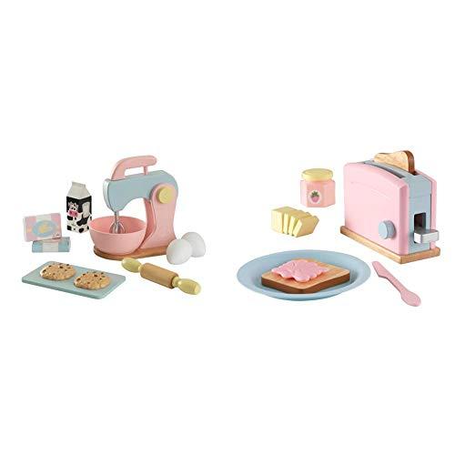 KidKraft 63371 Pastel - Set Impastatrice con Accessori, in Legno, per Bambini, Multicolore (Pastello) & 63374 Pastel - Set Tostapane con Accessori, in