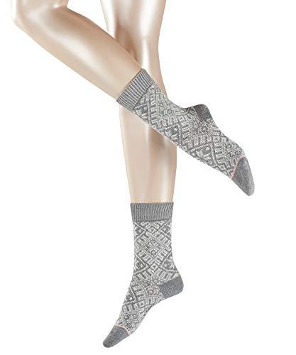 ESPRIT Damen Socken Norwegian Boot, Wolle/Baumwollmischung, 1 Paar, Grau (Mid Grey Melange 3530), Größe: 39-42