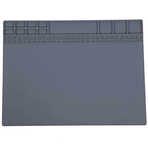 Alfombrilla de reparación de silicona, alfombrilla de reparación, almohadilla de estación de soldadura de teléfono de ordenador resistente al calor de silicona magnética 405x305x8mm(gris)