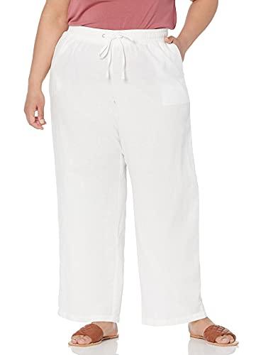 Amazon Essentials Pantalón de Pierna Ancha con cordón de Mezcla de Lino, Talla Casuales, Blanco, 3XL Grande