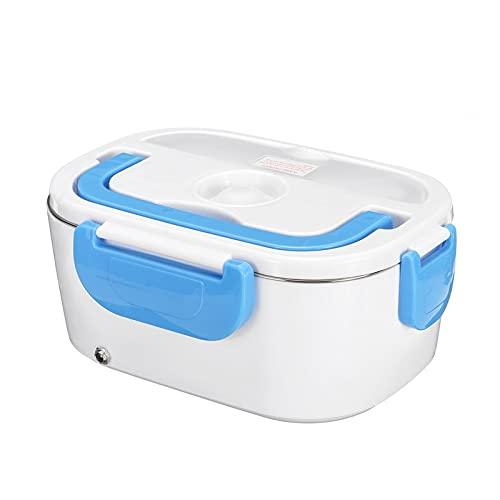 YONGLI Caja De Almuerzo Eléctrico Portátil 2 En 1 Coche Y Enchufe para El Hogar/Enchufe 12V 110V 220V Acero Inoxidable/Envase De Plástico (Color : Blue, Size : EU Plastic Liner)