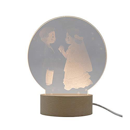 ZZYJYALG Interruptor Creativo de la Boda de fotografía 3D Noche lámpara de Tabla Ligera del botón USB iluminación Decorativa de Interior de Luces de la habitac