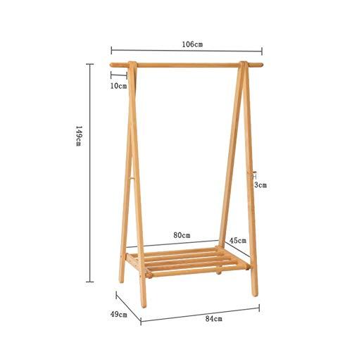Draagbare kapstok rek, massief hout opvouwbare enkele pool organisator systeem vloer Hanger voor slaapkamer hal woonkamer