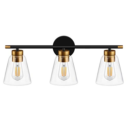 WIHTU Bathroom Vanity Light Fixtures, 3-Light Modern Wall Sconce with Matte Black Finish, Vintage Indoor Wall Lighting with Glass Shade, Wall Lamp for Mirror Cabinet, Powder Room, Dressing Table