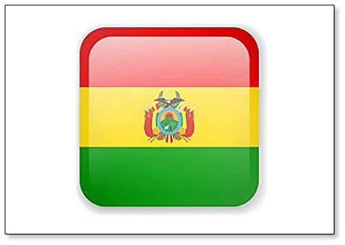 Kühlschrankmagnet Bolivien-Flagge, quadratisch, mit Symbolen, englische Aufschrift