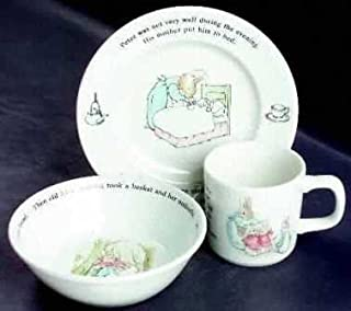 Wedgwood Original Peter Rabbit Three-Piece Set (Bowl, Plate, Two-Handled Cup)