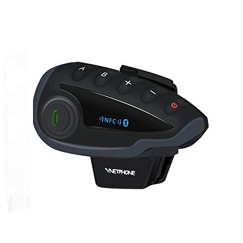VNETPHONE® V8 Bluetooth Motorcycle Intercom Motorcycle Communication System FM NFC 5 Riders Range 1200M