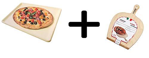 Trabo - Exclusieve Yeseatis-bundel - Handgemaakte Vuurvaste Plaat + Pizzaschep