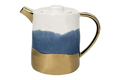 Creative Co-op White, Blue & Gold Electroplated Ceramic Teapot, Multicolored