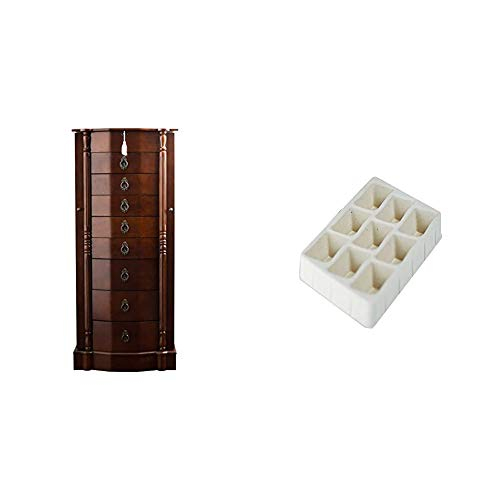 """Hives and Honey Robyn Jewelry Armoire, 41""""H x 17.25""""W x 12.5""""D, Walnut"""