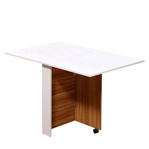 HOMCOM Klapptisch Mobiler Tisch Schreibtisch Beistelltisch mit Rollen Holz Weiß Schreibtisch Esszimmertische