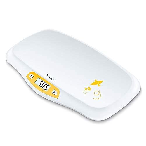 Beurer BY 80 Báscula para bebés, con superficie curvada, capacidad de 20 kg, función de tara y retención para bebés que patalean, medición y visualización en pasos de 5 g