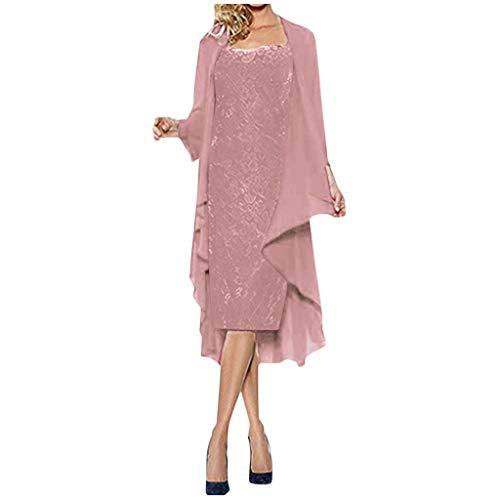 OPAKY Conjunto de Dos Piezas de la Mujer Vestido Suelto con Cuello en O Cestido Midi Trajes Cardigan Moda para Mujer Dos Piezas Encantador Color Sólido Vestidos de Encaje para Madre de la Novi