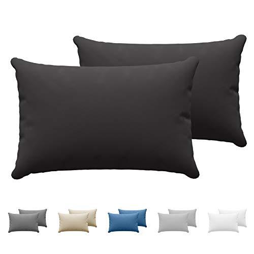 Dreamzie Juego de 2 x Fundas de Almohada 50x70 cm Negro 100% Algodon Jersey - Funda de Almohada Algodon 50x70 - Funda Cojin para Cama 50x70 - Protector de Almohada