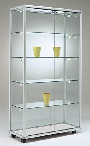 MHN brede moderne glazen vitrine tentoonstelling afsluitbaar 80 x 40 cm met glazen achterwand/op poten