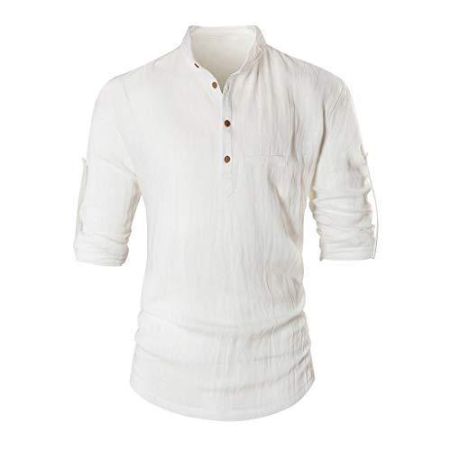DNOQN Polo Shirt Männer Longsleeve Weiß Herren Langarm Baggy Baumwolle Leinen Solide Knopf Retro T Shirts Tops Blusen XL