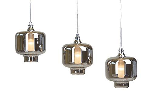 anTes interieur Hängeleuchte Vitrea lang chrom inkl. LEDs Glas mehrflammig (Pendelleuchte Hängelampe Deckenlampe Pendellampe Deckenleuchte)