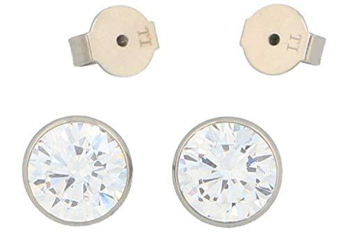 Pure Grey Women's/Men's Titanium Stud Earrings White Zirconia