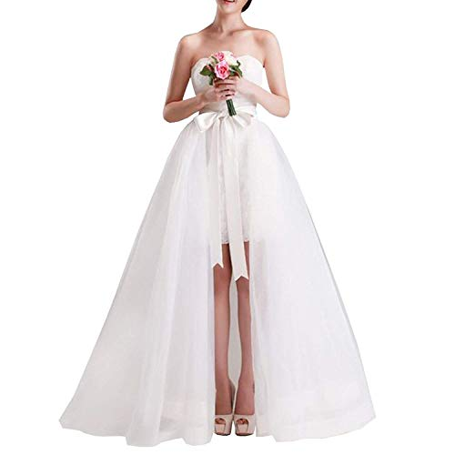 Damen Braut Hochzeit Maxi tüll - röcke Abnehmbare Zug - Lange overskirt (Weiße, Sweep (55 inches/ 140 cm))