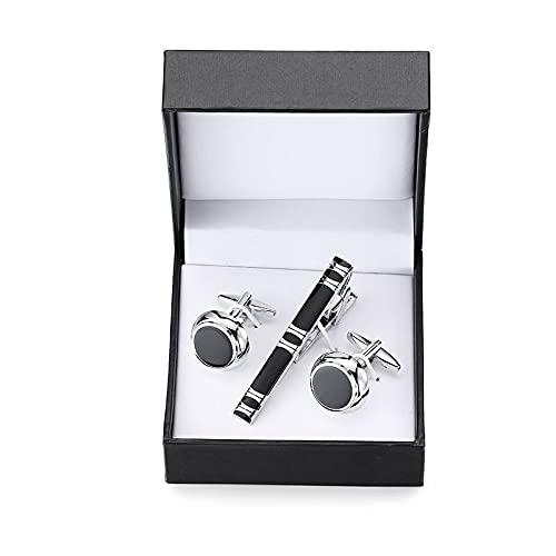 feichang Una gama de gemelos tallados de alta calidad exquisitos con diseño de ancla y saxofón de cristal para corbata, juego de caja cuadrada (metal color: 11)